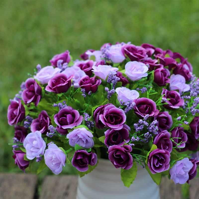 1 Xbouquet Buatan Rose Fake Sutra Bunga Daun Pengantin Pernikahan Dekorasi Rumah Pesta Festival Dekorasi Bunga