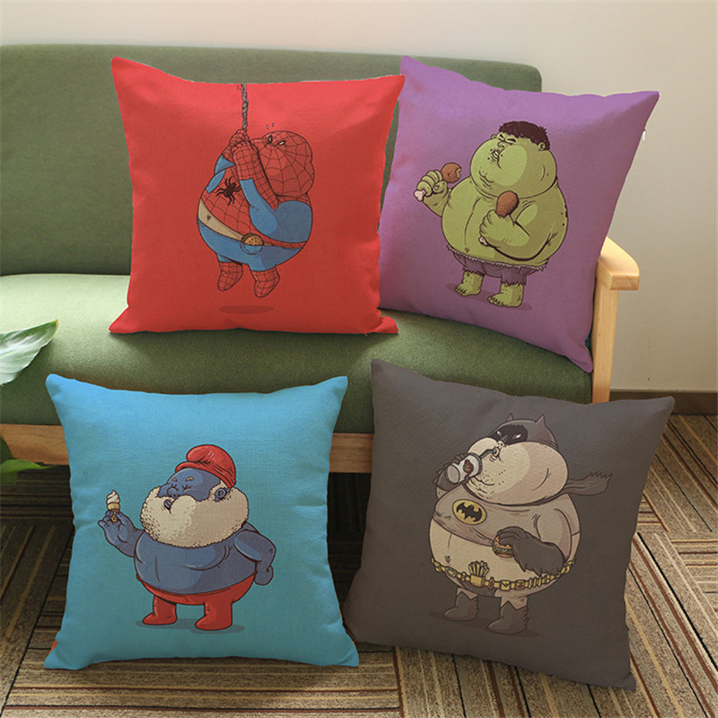 Super heros love food flash thor cartoon Pillow case Cushion Cover Home sofa hotel club coffee shop Decoration for children gift