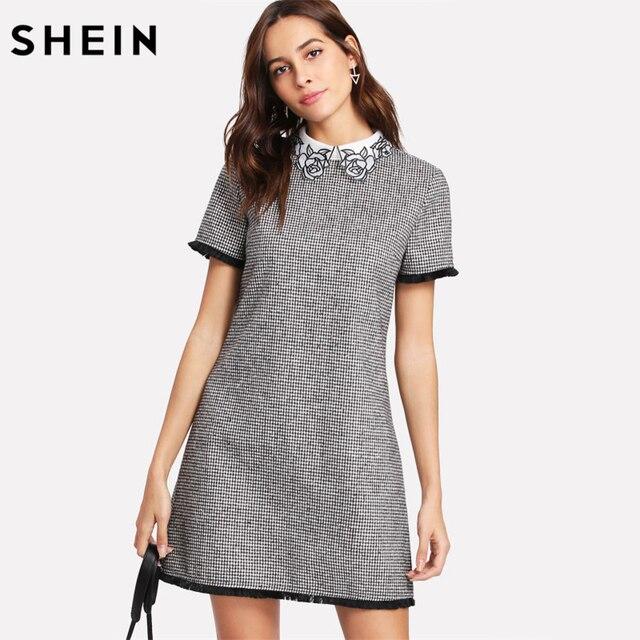 Shein trabalho vestido feminino elegante preto e branco manga curta bordado contraste colarinho franja rendas guarnição houndstooth vestido