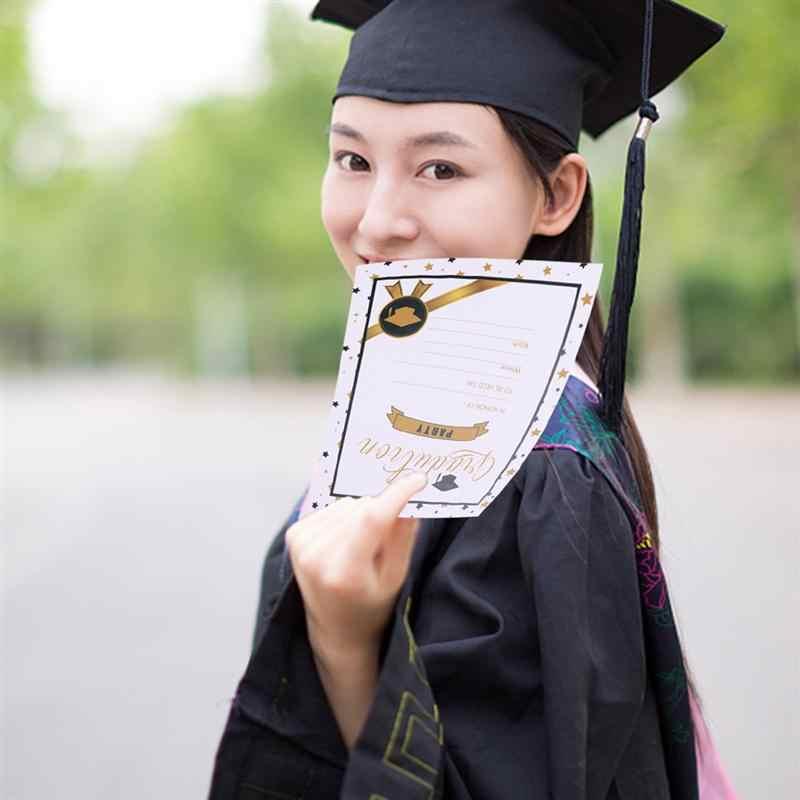 12 sztuk zaproszenia kreatywny elegancki przyjęcie z okazji ukończenia szkoły zaproś karty Grad uroczystości karty dla uczelni szkoła zaproszenia