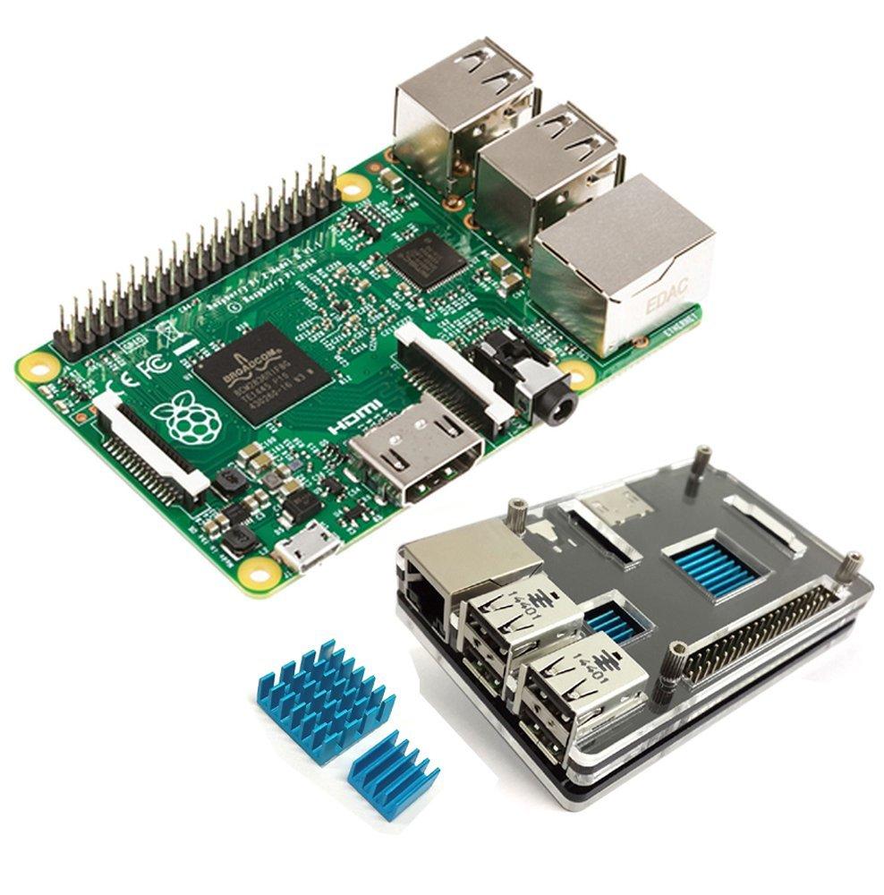Raspberry Pi 2 modèle B + Exclusive clair Slim Edition) boîtier et dissipateur de chaleur Type C Kit de démarrage