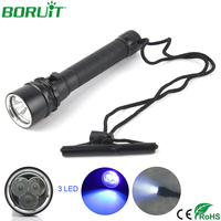 BORUiT UV LED Flashlight 395nm Ultraviolet Diving Torch Light Underwater 100m Waterproof Camping Hunting Lantern Scorpion Lamp