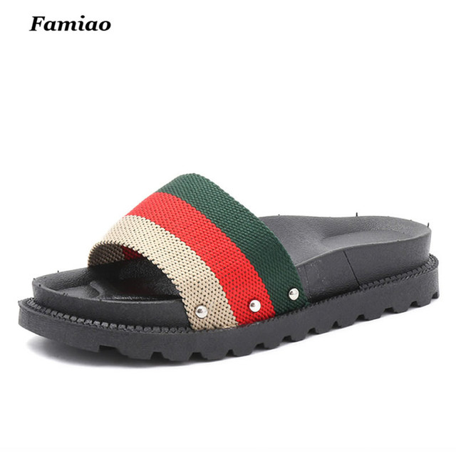 0f29049f03d Famiao 2017 Women Flat Platform Slides Summer Shoes Women Leather Platform  Slippers Sandals For Women Casual Slippers