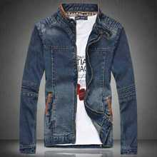 M-4XL Men Jean Jacket Men Denim Jackets For Men Stand Collar 100% Cotton Outerwear Jean Jacket Men Plus Size A3835