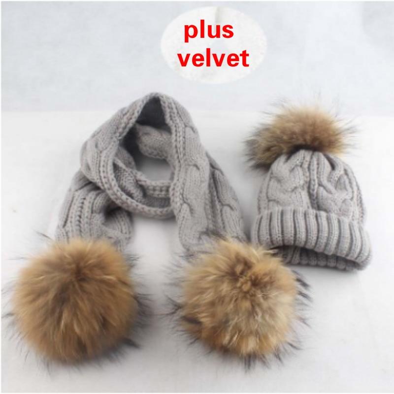 Super Warm Plus Velvet Winter Hat Scarf Set For Kids Fashion Real Raccoon Fur Pompom Knitted Cap Scarves Set Children Fur Bonnet