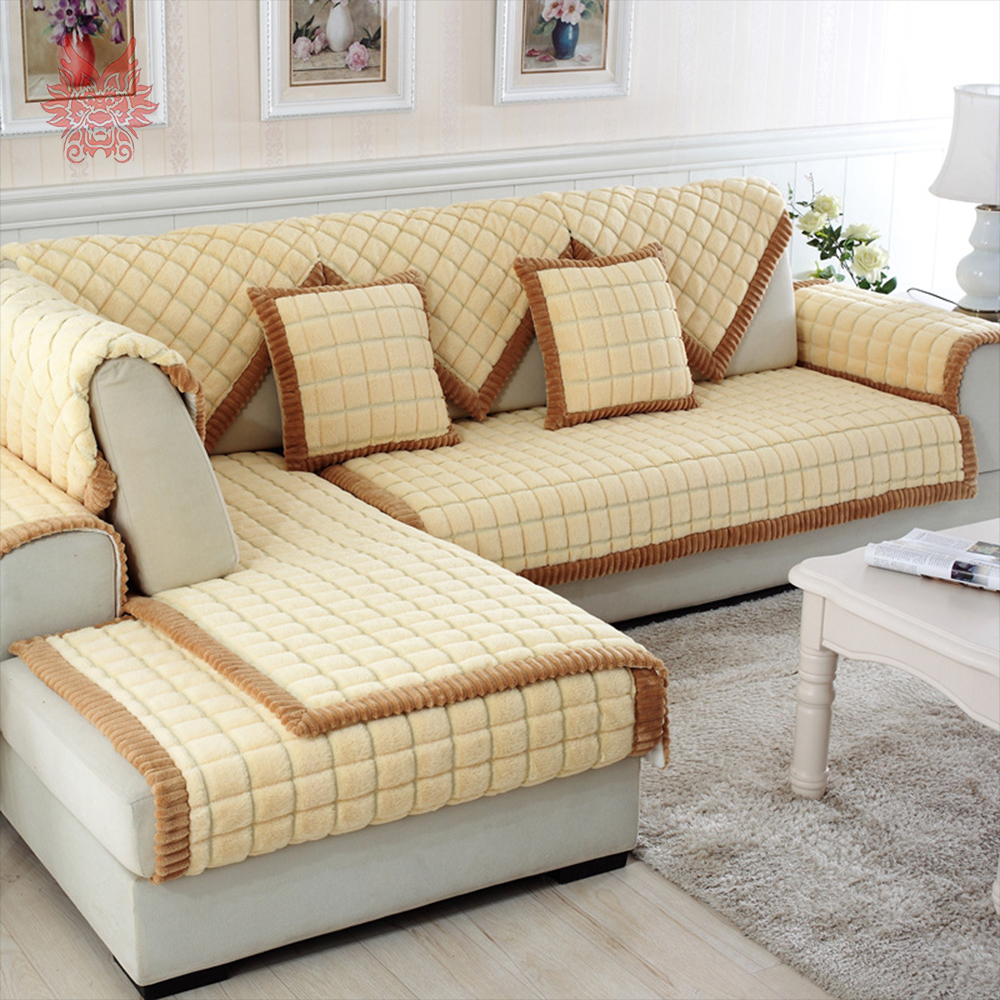 Buy Coffee Beige Plaid Quilting Sofa Cover Sectional Couch Slipcovers Furniture