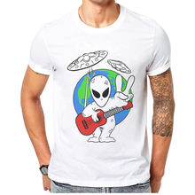 Hip Hop Tshirts Rock Man The Alien Printed Men T Shirt Hipster Tee Shirts Short Sleeve Cotton Casual Tops Funny Mens T-Shirt