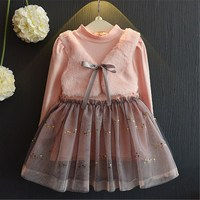 2018 Spring Sweet Girl Dress Baby Girl Princess Fake 2Pcs Voile Dress Children Girl Ruffles Clothing