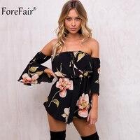 ForeFair Summer Floral Print Elastic Waist Short Jumpsuit Women Flare Sleeve Boot Cut Sexy Strapless Romper