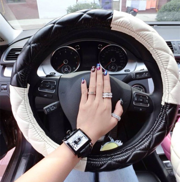 free shipping fashion girls car leather steering wheel cover universal steering wheel interior. Black Bedroom Furniture Sets. Home Design Ideas