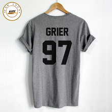 Shirt Femme GRIER 97 Back Letters Print Women T shirt Cotton Casual Funny Shirt For Lady Black Gray White Top Tee Hipster
