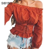 Sibybo Autumn Tunic Bandage Off Shoulder Tops For Women T Shirt 2017 Ruffles Casual Ladies Long