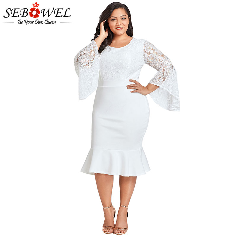 US $23.06 45% OFF|SEBOWEL White Plus Size Lace Mermaid Bodycon Short Dress  Woman Spring Autumn Long Bell Sleeve Patchwork Elegant Ladies Dresses-in ...