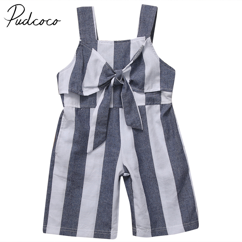 PUDCOCO Brand Cotton Blend Baby Girls Sleeveless Romper Toddler Kids Jumpsuit Clothes Outfits 2017 summer toddler kids girls striped baby romper off shoulder flare sleeve cotton clothes jumpsuit outfits sunsuit 0 4t