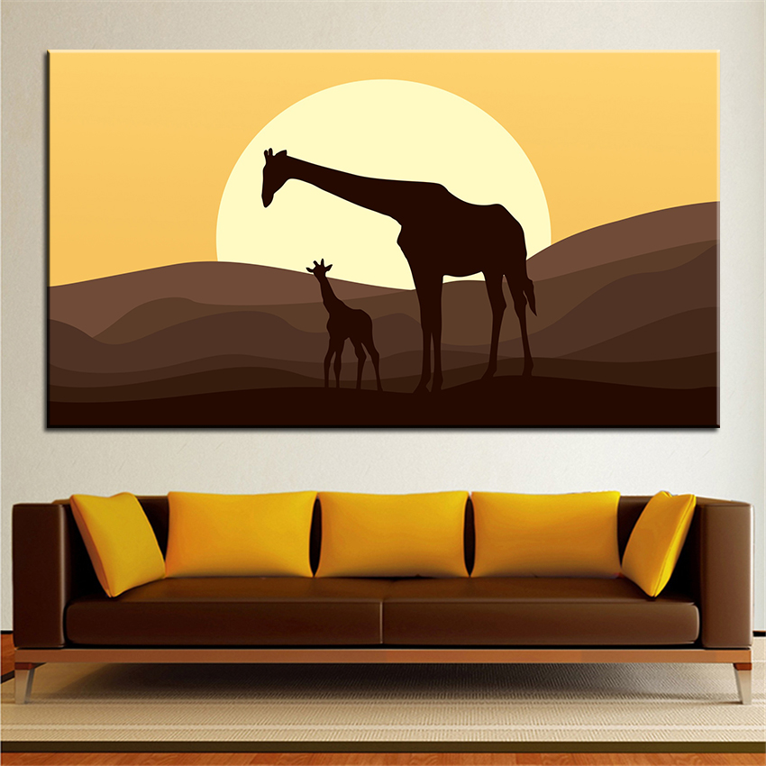 Large Size Printing Oil Painting Mother And Baby Giraffe Wall Painting  Decor Wall Art Picture For Living Room Painting No Frame In Painting U0026  Calligraphy ...