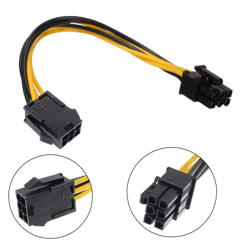 PCI-e PCI Express 2 IDE Dual 6 Pin to 6 Pin Power Cable 20cm Male to Female Adapter Connector for Apple Pro Video Card 5pcs adapter connector converting 3 pole pin k3p female to dual track 6 5 male xrl audio adapter female cannon to 6 5