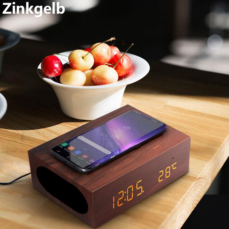 Portable Desktop Wireless Phone Charger with Dual 5W Bluetooth 4.0 Wireless Speaker Loudspeaker and Retro Digital Alarm ClockPortable Desktop Wireless Phone Charger with Dual 5W Bluetooth 4.0 Wireless Speaker Loudspeaker and Retro Digital Alarm Clock