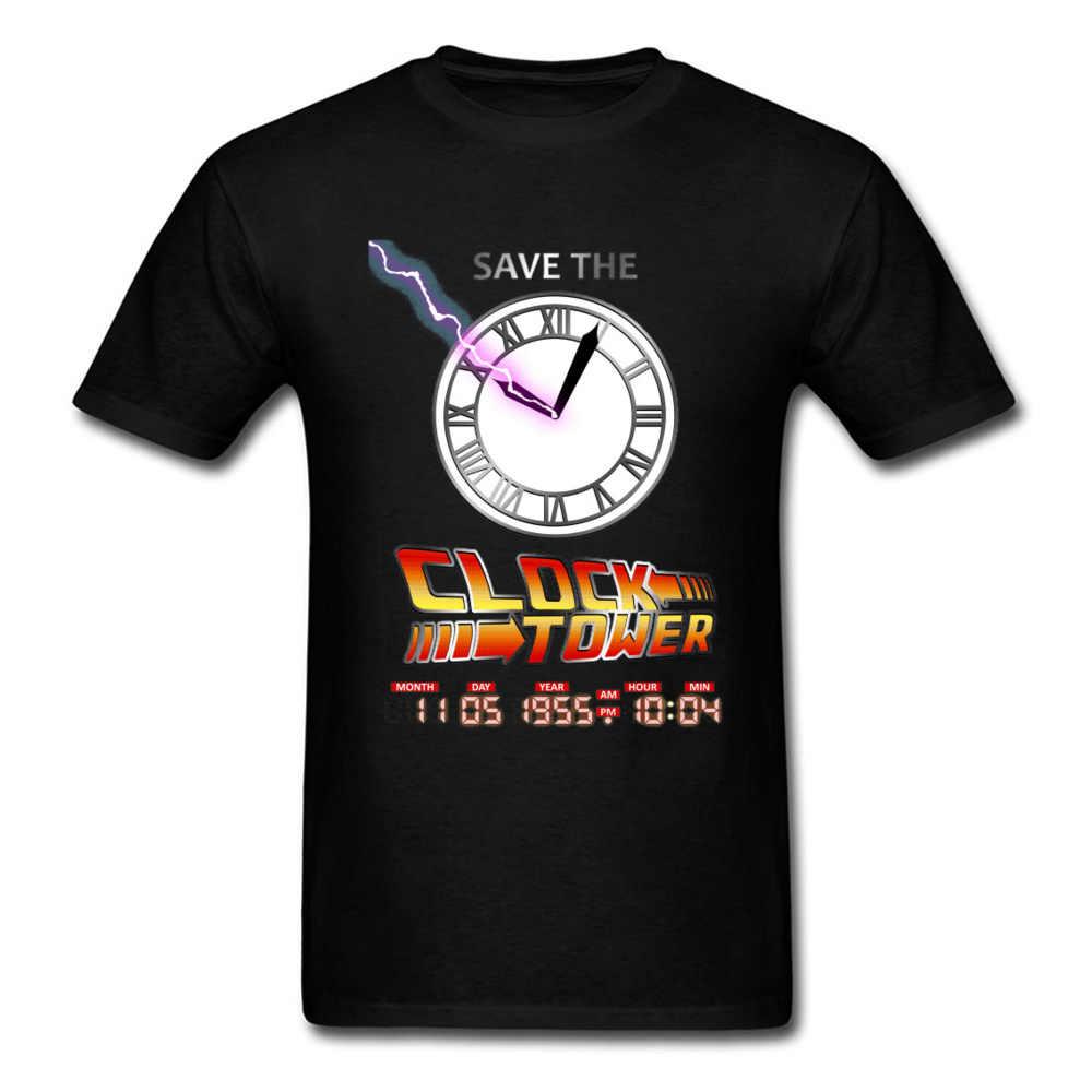 นิยายฟิล์มเสื้อยืดผู้ชาย Back To The Future เสื้อยืดนาฬิกา Tower Tops Marty DOC DeLorean พิมพ์ TShirt ผ้าฝ้าย Streetwear novelty