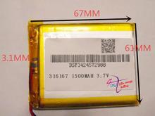 3.7 V batería de polímero de litio 1500 mah 316167