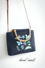 Handmade Women Wool Tote Bags Black Vintage Bamboo Bag Embroidery Butterfly Personality Handbag Female Soft Casual Totes Fashion lilyhood handmade embroidery floral wool handbag female black shabby chic retro elegant rustic preppy cottage shoulder bag etsy