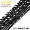 De calidad superior de Piedra Natural Negro Hematite beads Ronda Suelto bolas de Piedra bola Seleccionable 3/4/6/8/10 MM Para La pulsera de La Joyería Que Hace