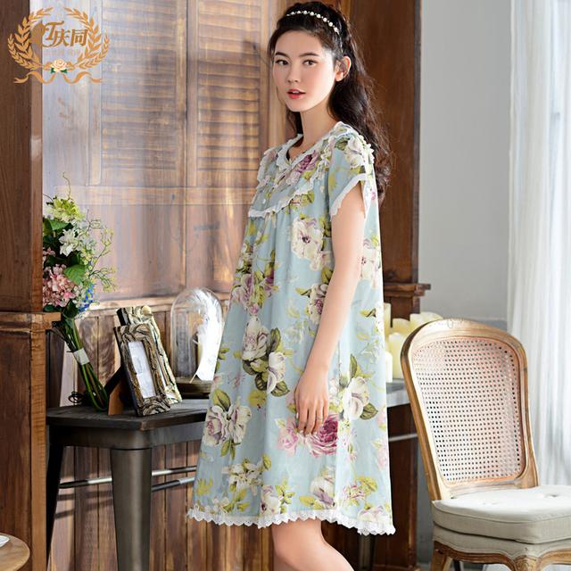 Camisón Femenino de Primavera Y Verano de Manga Corta 100% Algodón ropa de Dormir Camisón Salón de Las Mujeres Más Tamaño Bata de Encaje Dulce 1625
