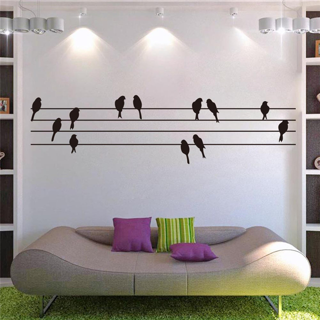 birds standing on electric wire vinyl wall stickers for living room ...