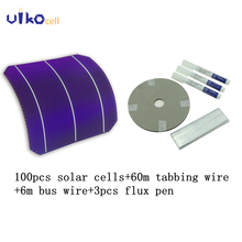 100Pcs 4.6W Monocrystalline Silicon Solar Cells 6×6 With 120M Tabbing Wire 10M Bus Wire and 3Pcs Flux Pen For DIY Solar Panel