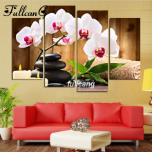 FULLCANG Orchid Stone 4pcs Diamond Painting Cross Stitch Embroidery Diy 5D Square Mosaic F1064