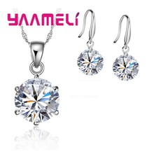 80% off Discount Wedding Jewelry Set Multi Colors 925 Sterling Silver Cubic Zirconia Necklace Pendant Earrings For Sale(China)