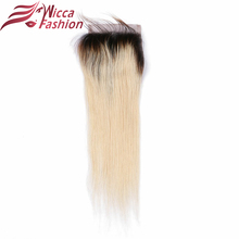 wicca fashion Straight Lace Closure 1b/613 Color Brazilian Non Remy Human Hair 4x4inch Closures With Baby Hair