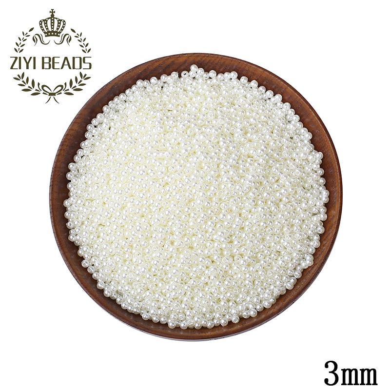 3mm Straight Hole Round Imitation Pearls Beads 3500pcs/lot Wholesale ABS European Beads For Kids DIY Jewelry Making Decorations