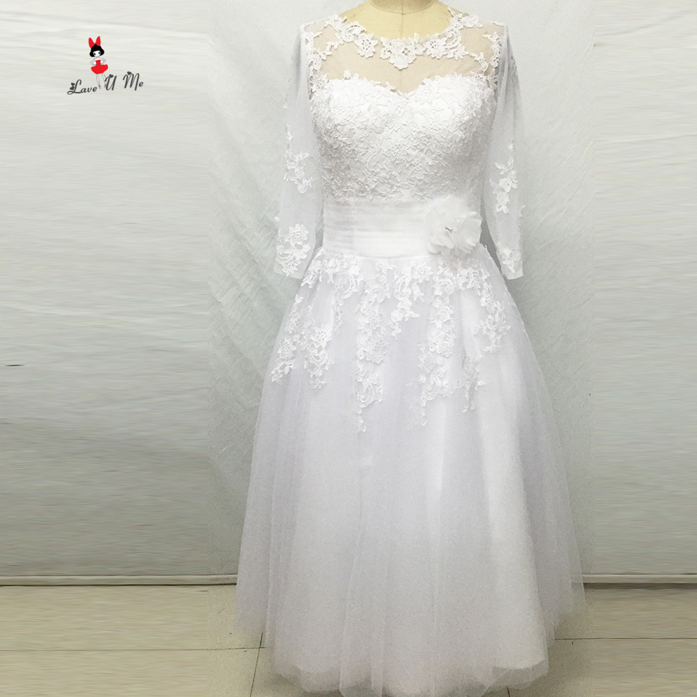 Christmas Tea Length Wedding Dress Short Lace Bride