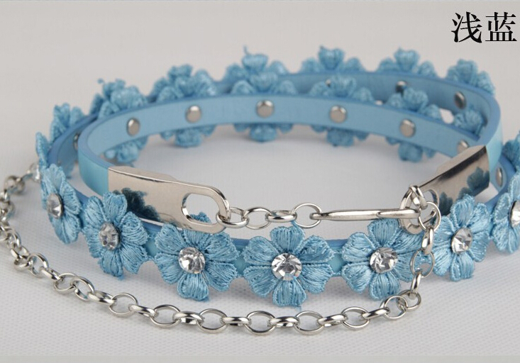 Spring and summer all-match flower chain fashion thin   belt   women's belly chain thin   belt   female