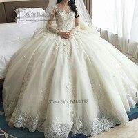 Iglesia lujo Vestidos de novia flores de manga larga bola vestido de novia vestidos de noivas vestidos de boda de la vendimia Encaje brautkleid