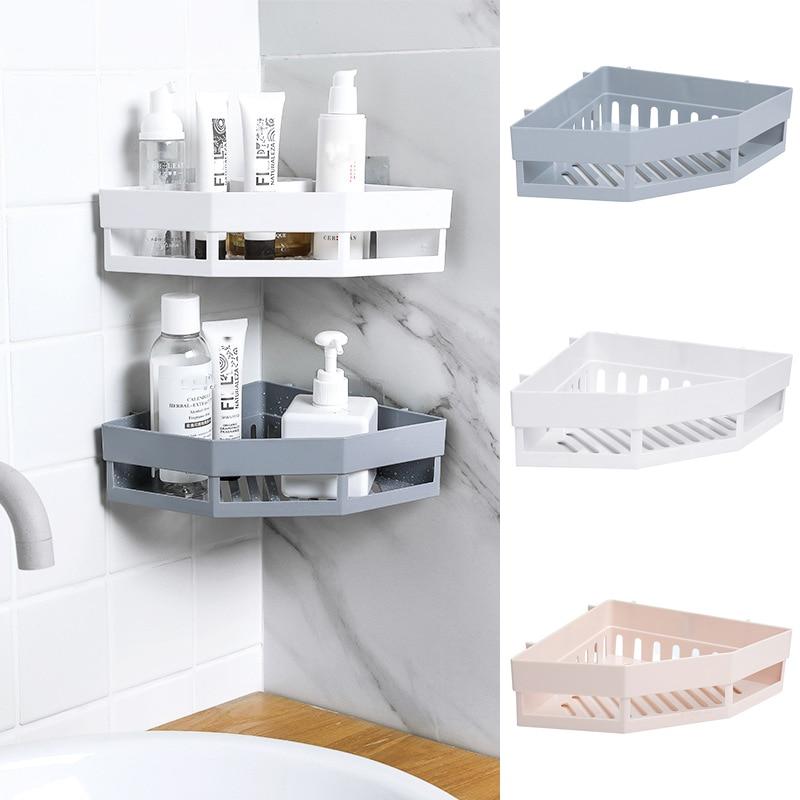 Bathroom Shelf Adhesive Storage Rack Corner Holder Shower Gel Shampoo Basket Hot Sale Kitchen Bathroom Shelf Storage Rack Corner