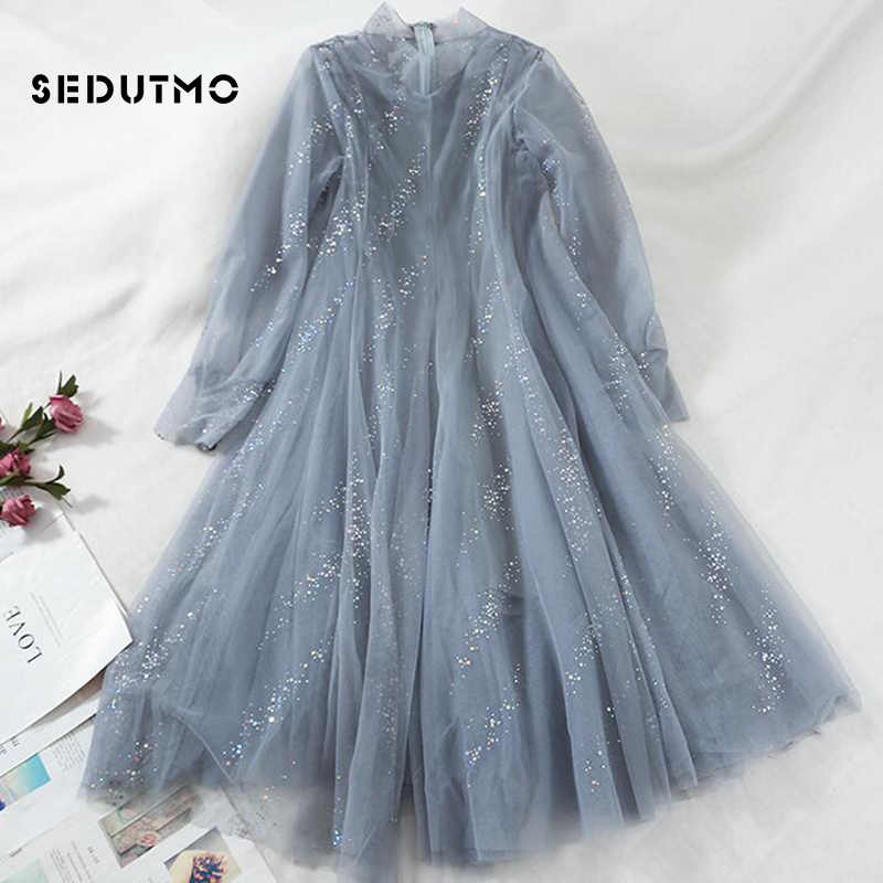 58a0868458c Detail Feedback Questions about SEDUTMO Summer Sequins Dress Women Lace  Mesh Beach Sexy Dresses Long Sleeve Basic Vintage Slim Party Dress ED647 on  ...
