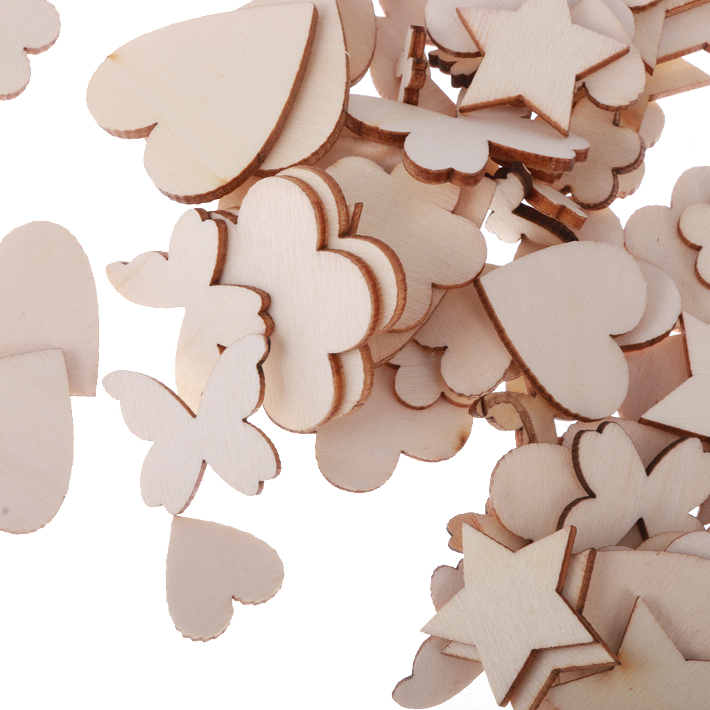 60pcs Blank Wooden Cut LOVE Sign MDF Craft Wedding Engagement Party Decor
