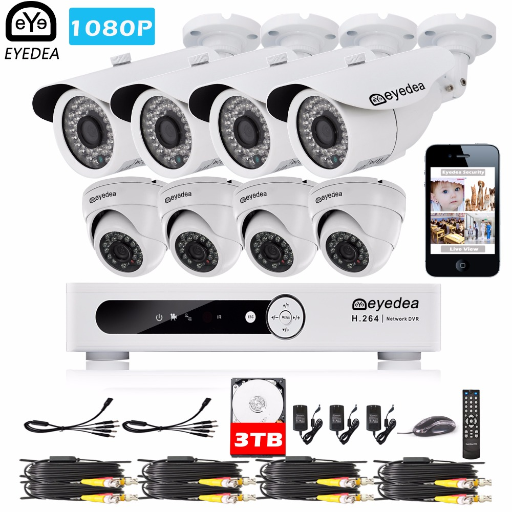 Eyedea 8CH Email Alert Phone View DVR Recorder 1080P LED Night Vision Bullet Dome Surveillance CCTV Security Camera System 3TB