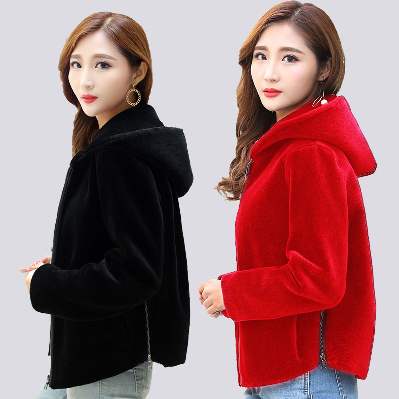 women real sheep fur coat winter warm fashion short style full sleeve with hoody femme Merino thick Sheep Shearing zip outwear
