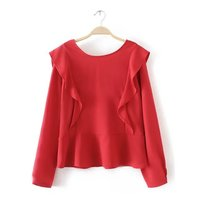 Women Fashion Ruffles Open Back Pullover T Shirt In Solid Color