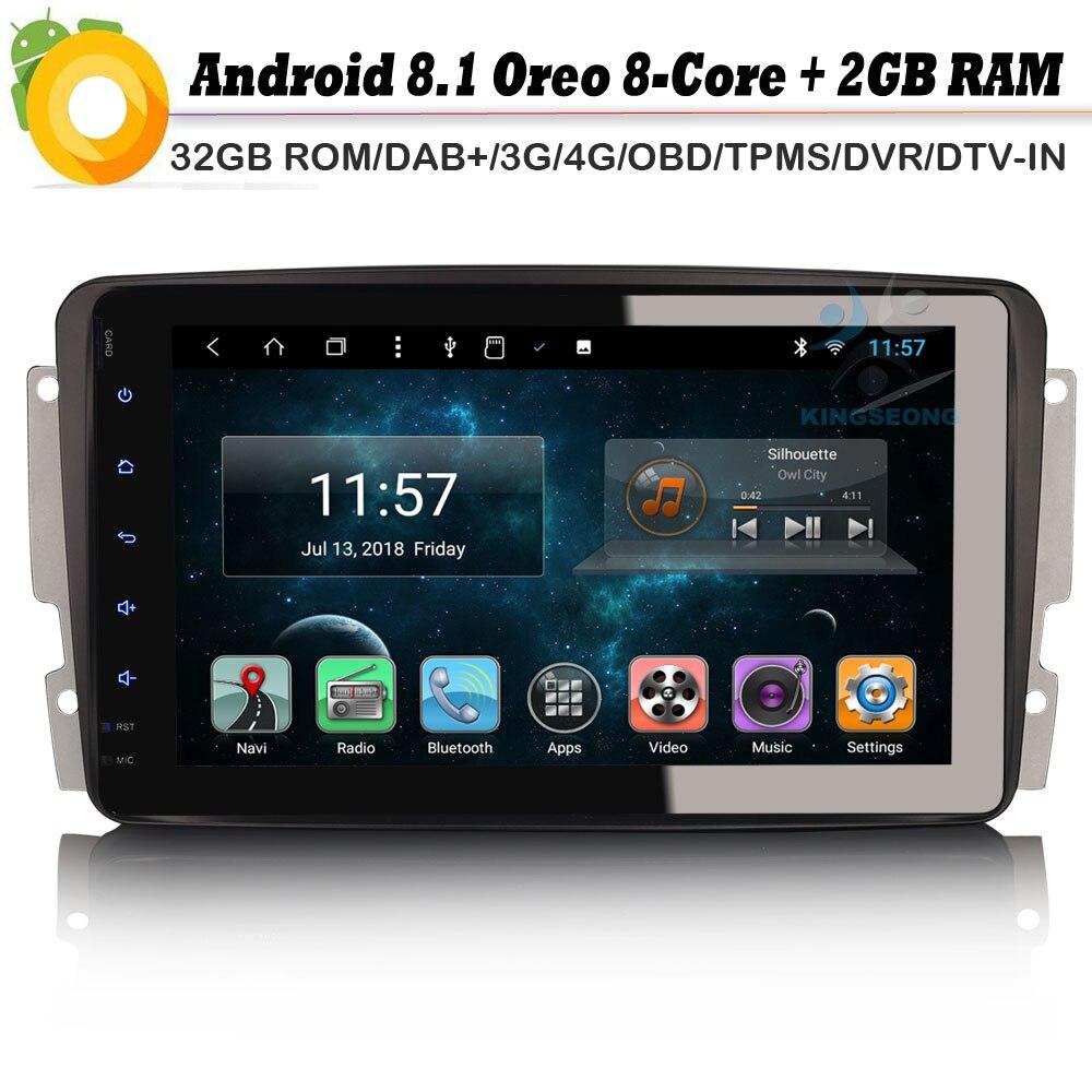 Android 8.0 Autoradio lecteur multimédia de voiture pour Mercedes Mercedes Klasse C/G/CLK W203 W209 Viano Vito DAB + SatNav WiFi 4G GPS