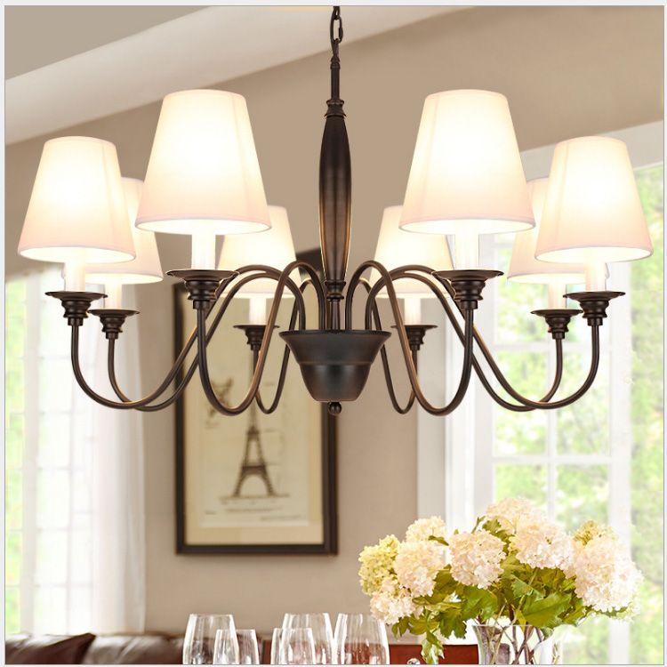 American country wrought iron chandelier simple European retro living room lighting atmospheric bedroom dining room lamp E27 modern simple european style dining room lighting american hollow carved iron bedroom pendant lights