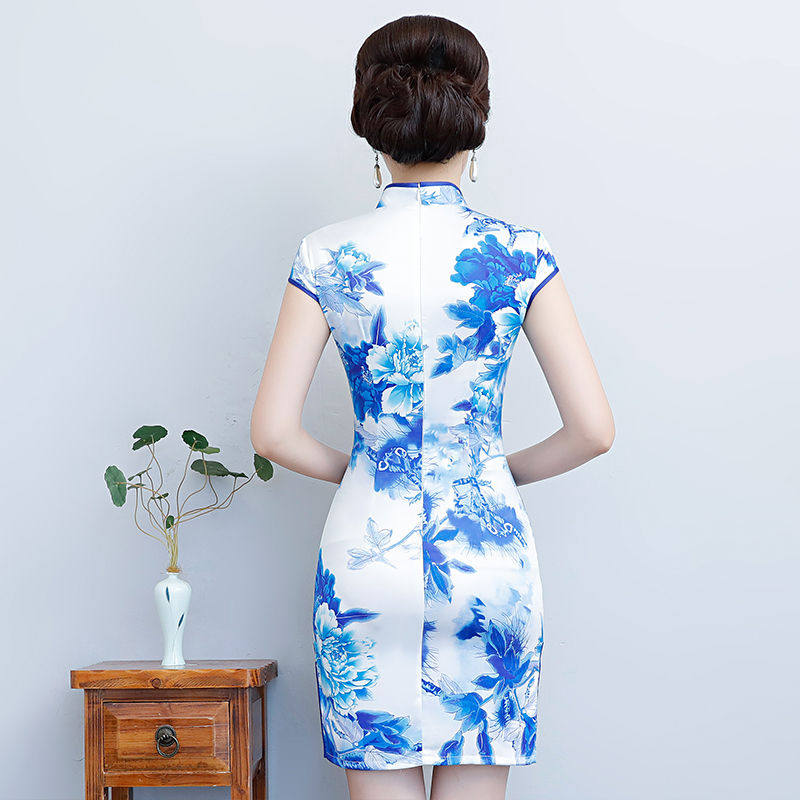 New Arrival Women's Satin Mini Cheongsam Fashion Chinese Style Dress Elegant Slim Qipao Clothing Size S M L XL XXL 368483 6