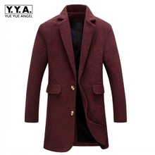 Hot Sale Mens Autumn Winter Woolen Blends Mid Long Trench Turn Down Collar Office Work Outerwear Coat Slim Fit Business Overcoat cheap Turn-down Collar Single Breasted REGULAR Polyester STANDARD Broadcloth Full England Style Conventional Pockets YueYueAngel