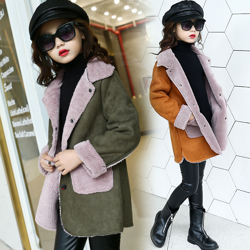 Girls coat new style autumn and winter fashion plus velvet thickening big children winter clothes imitation suede coat long coat