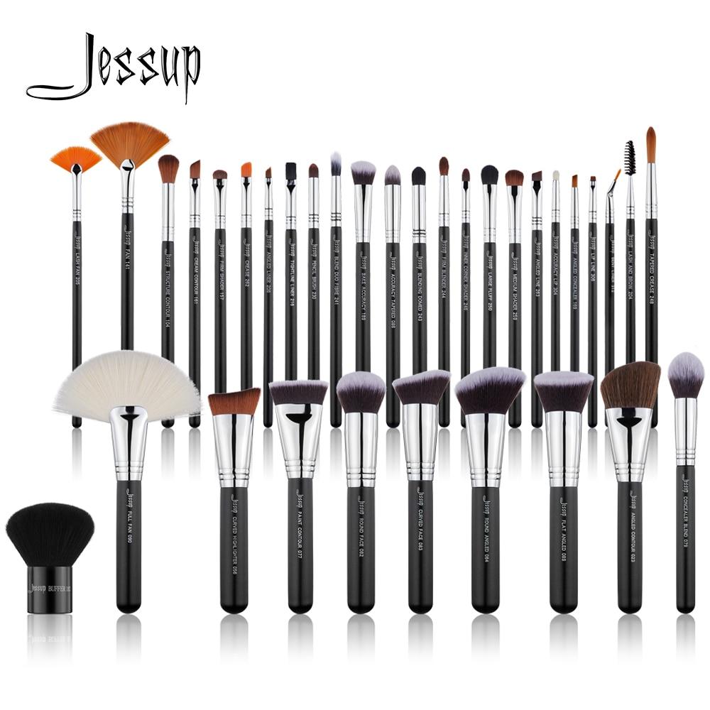 Jessup 34PCS Professional Makeup Brushes Set Black Silver Eyeshadow brush Make up Brush Powder Foundation Soft
