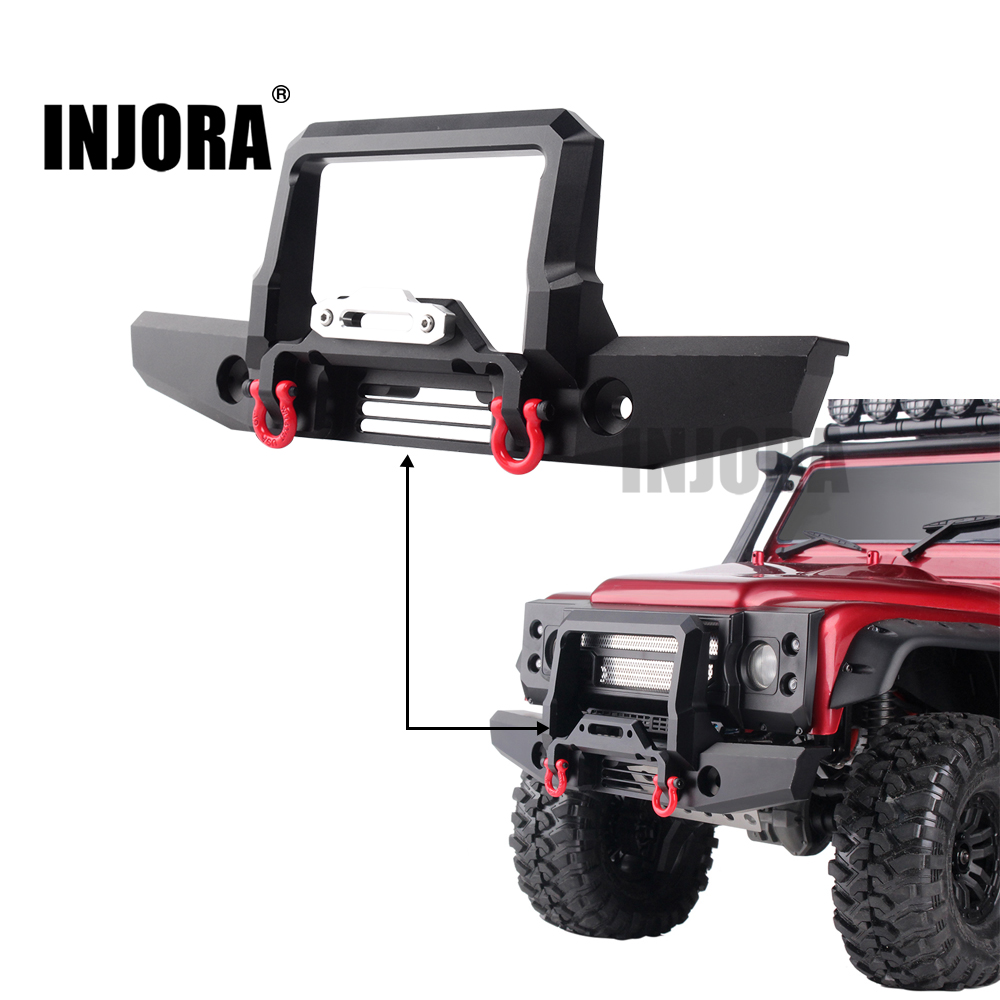 INJORA RC Car Metal Front Bumper with Led Light for 1/10 RC Crawler Traxxas TRX-4 TRX4 Upgrade Parts classic trx4 metal front bumper for 1 10 rc crawler traxxas trx 4 trx 4