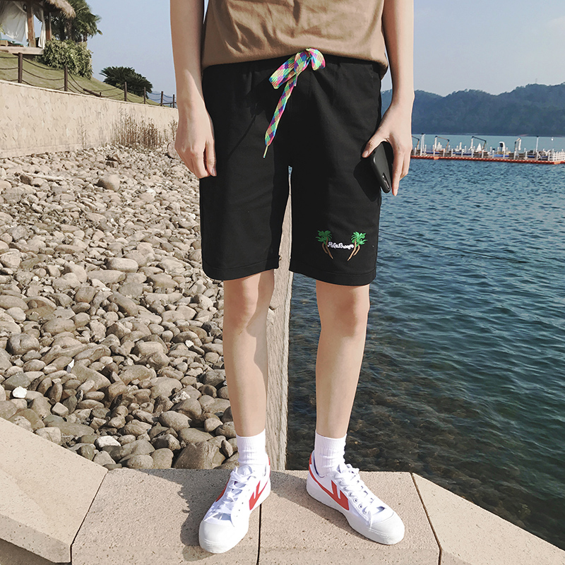 Summer 2017 Brand Men's Linen Cotton Shorts Knee Length Beach Short Trousers For Men Embroidery Tree Design Plus Size 4XL 5XL