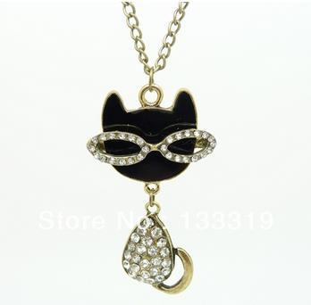 Hello Kitty Pendant ALP N082 New Style Girls Jewelry Fashion vintage Crystal Hello kitty Necklace  WOMEN Rhinestone kitty Pendant Crystal Necklaces